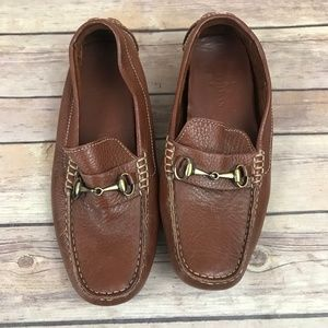Cole Haan Brown Pebbled Leather Horsebit Loafers